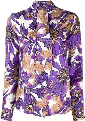 Victoria Beckham Retro Floral-Print Tie-Neck Satin Blouse