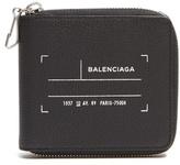 Balenciaga Tag-print Zip-around Leather Wallet