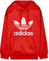adidas Trefoil Printed Satin-jersey Hooded Top - Red