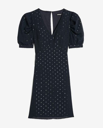 Express Metallic Clip Dot Puff Sleeve Fit And Flare Dress