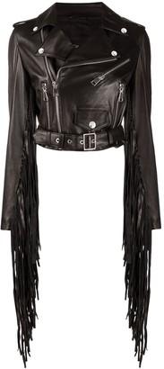 Manokhi Fringed Leather Jacket