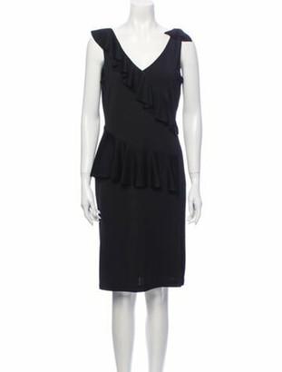 St. John V-Neck Knee-Length Dress Black