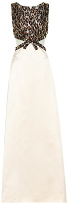Miu Miu Leopard brocade silk-satin gown
