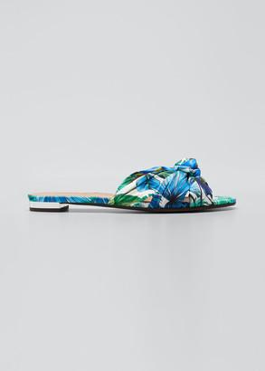 Aquazzura Knotted Tropical-Print Slide Sandals