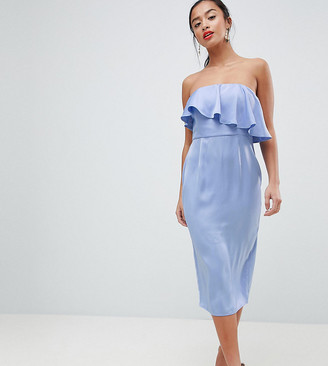 ASOS DESIGN Petite soft bandeau crop top pencil dress