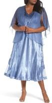 Komarov Plus Size Women's Tea-Length Dress With Capelet