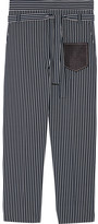 Tod's Leather-trimmed Striped Cotton-poplin Tapered Pants - Navy