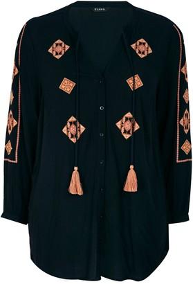 Evans Black Embroidered Tassel Blouse