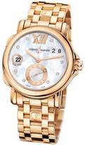 Ulysse Nardin GMT Dual Time Mother of Pearl Dial 18kt Polished Rose Gold Automatic Ladies Watch