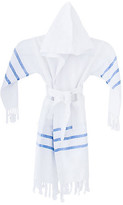 Turkish T Kids' Spa Bathrobe - White/Blue large