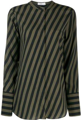 Closed striped Mandarin collar shirt