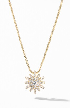 David Yurman Starbust Pendant Necklace in 18K Yellow Gold with Pave Diamonds