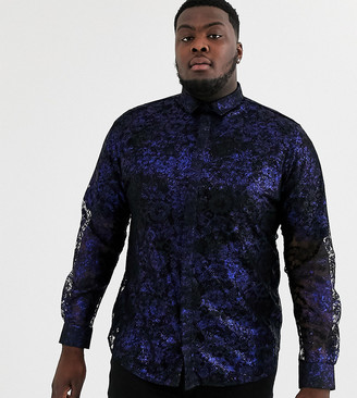 Twisted Tailor Plus lace shirt with blue metallic print