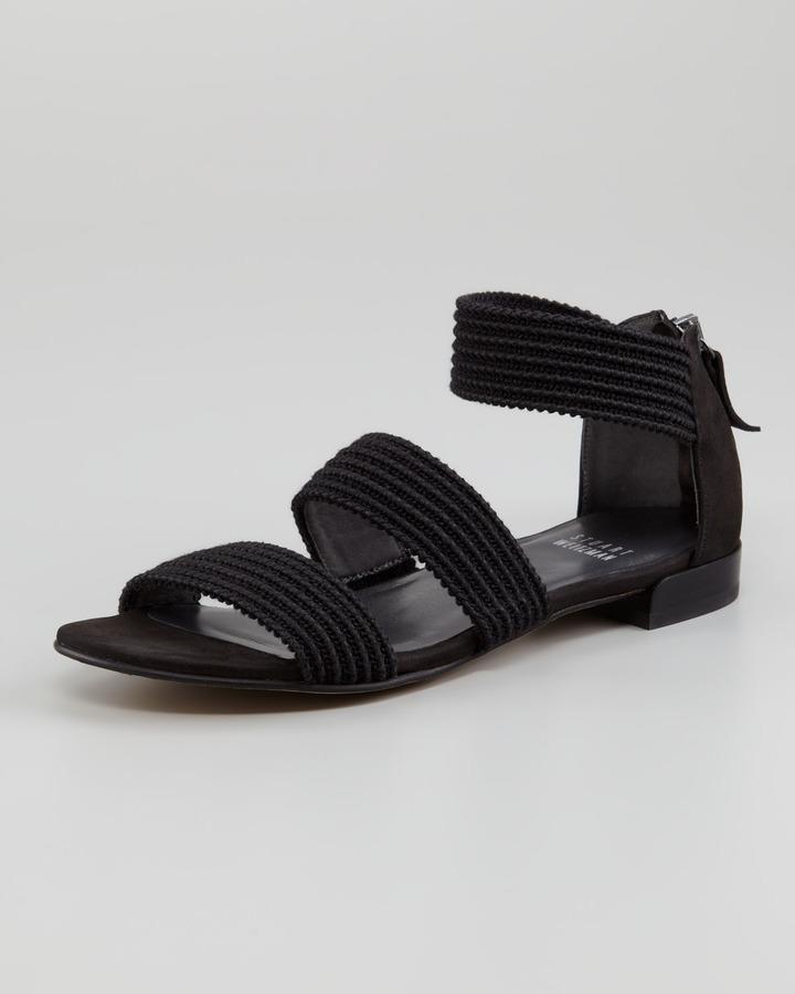 Stuart Weitzman Ligament Ottoman Elastic Flat Sandal, Black