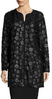 Karl Lagerfeld Long Sleeved Floral-Accented Topper