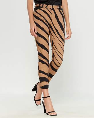 Roberto Cavalli Beige & Black Zebra Stripe Crop Pants