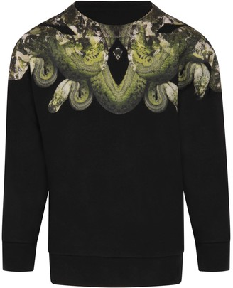 Marcelo Burlon County of Milan Black Sweatshirt For Boy With Iconic Snakes