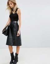 Whistles Ines Leather Wrap Skirt