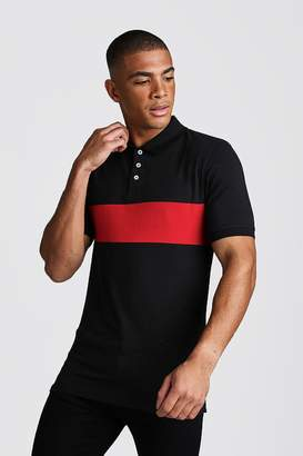 BoohoomanBoohooMAN Mens Red Colour Block Muscle Fit Polo, Red