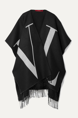 Valentino Fringed Wool And Silk-blend Jacquard Wrap - Black
