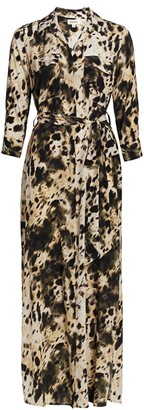 L'Agence Cameron Silk Printed Long-Sleeve Shirtdress