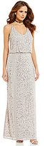 Gianni Bini Giselle V-Neck Sleeveless Blouson Beaded Gown