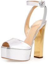 Giuseppe Zanotti Metallic Leather High-Heel Sandal, Argent