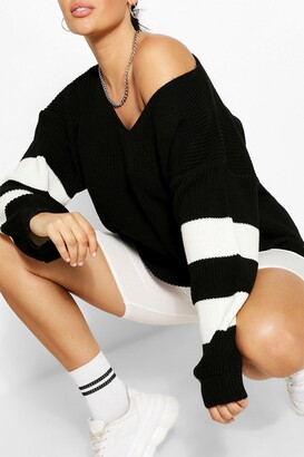 boohoo Plus V Neck Stripe Sweater