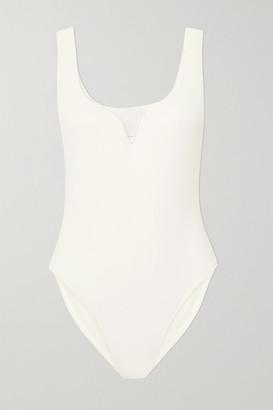 PARIS GEORGIA Heart Stretch-crepe Bodysuit - White