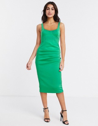 ASOS DESIGN sleeveless square neck midi dress with corsetry detail in green