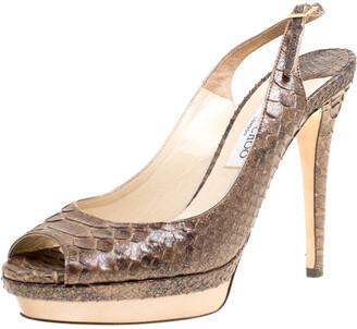 Jimmy Choo Brown Glitter Effect Python Leather Peep Toe Slingback Platform Sandals Size 40.5