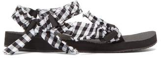 Arizona Love - Trekky Gingham-wrapped Sandals - Womens - Black