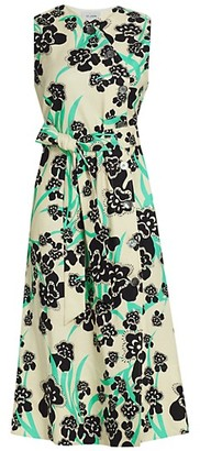 St. John Orchid Fever Print Twill Belted Midi Dress