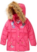 KensieGirl Hooded Bubble Jacket with Faux Fur Trim & Patches (Little Girls)
