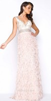 Mac Duggal Sleeveless Beaded Scoop Back Feathered Prom Dress