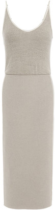 James Perse Melange Ribbed Cotton-blend Jersey Midi Dress