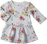 Petit Bateau Flower Print Dress (Baby) - Gray/Multicolor-3 Months