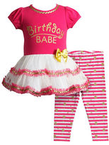 Sweet Heart Rose Sweetheart Rose Baby Girls Birthday Babe Glitter Screen-Printed Dress and Striped Leggings Set
