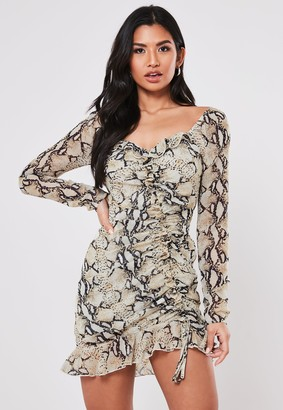 Missguided Tall Grey Snake Print Ruched Mini Dress