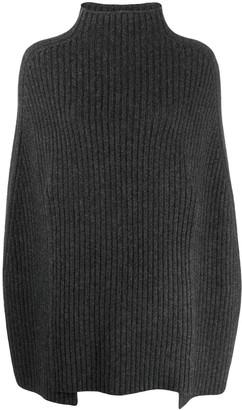 Pringle Ribbed Knit Poncho-Sweater