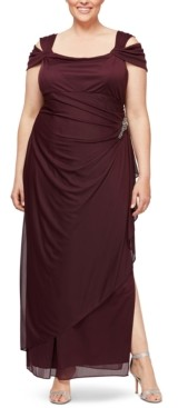 Alex Evenings Plus Size Embellished Cold-Shoulder Gown