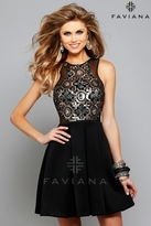 Faviana Enticing Sequined Cocktail Dress In Black 7660
