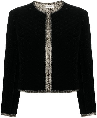 Céline Pre-Owned Pre-Owned Glitter Edging Collarless Jacket