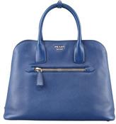 Prada Saffiano Cuir Open Promenade Tote Bag, Blue (Bluette)