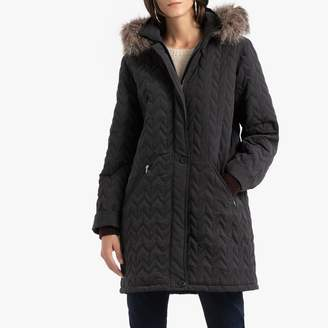 Anne Weyburn Padded Jacket with Faux Fur Hood and Pockets
