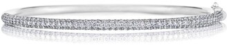 De Beers White Gold and Diamond Three-Row Micropave Bangle