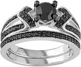 Sterling Silver 1 1/8 Carat T.W. Black Diamond Engagement Ring Set