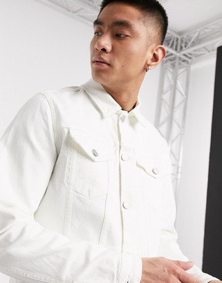 Selected denim jacket in white