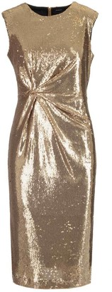 P.A.R.O.S.H. Sleeveless Sequin Embellished Midi Dress