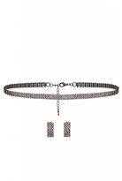 Quiz Silver Diamante Choker and Earring Set